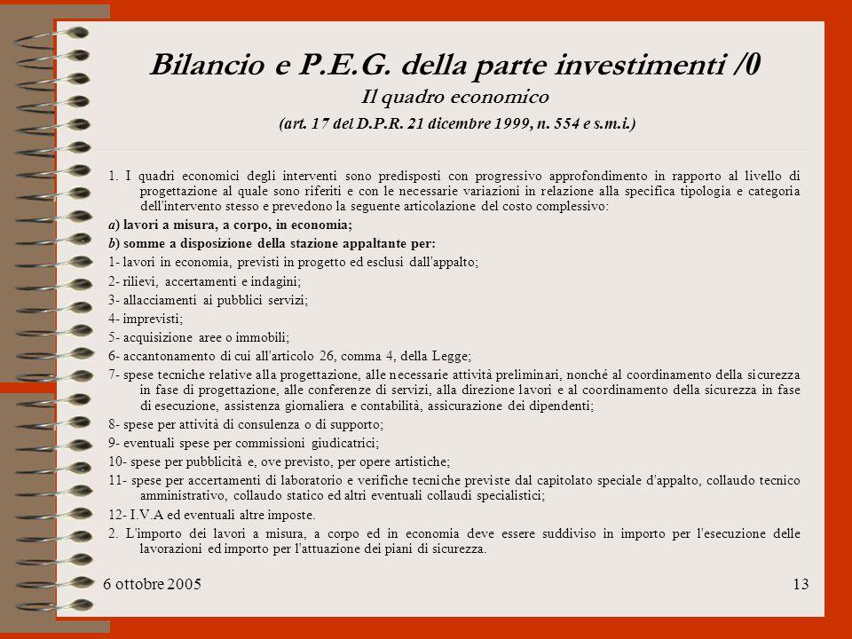 Bilancio e P.E.G. della parte investimenti /0 Il quadro economico (art. 17 del D.P.R. 21 dicembre 1999, n. 554 e s.m.i.)