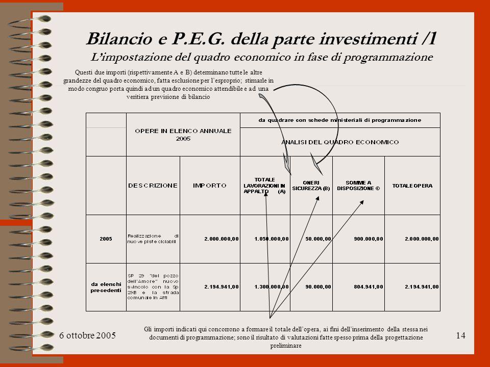 Bilancio e P.E.G. della parte investimenti /1 L'impostazione del quadro economico in fase di programmazione
