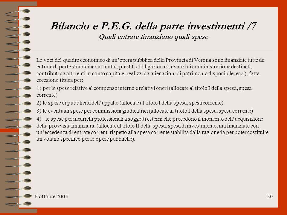Bilancio e P.E.G. della parte investimenti /7 Quali entrate finanziano quali spese