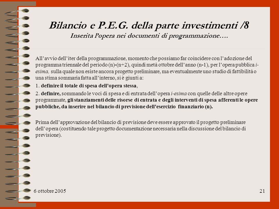 Bilancio e P.E.G. della parte investimenti /8 Inserita l'opera nei documenti di programmazione….