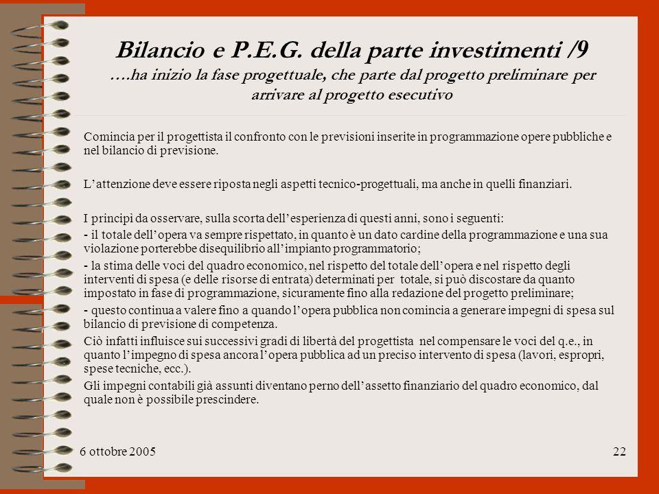Bilancio e P. E. G. della parte investimenti /9 …