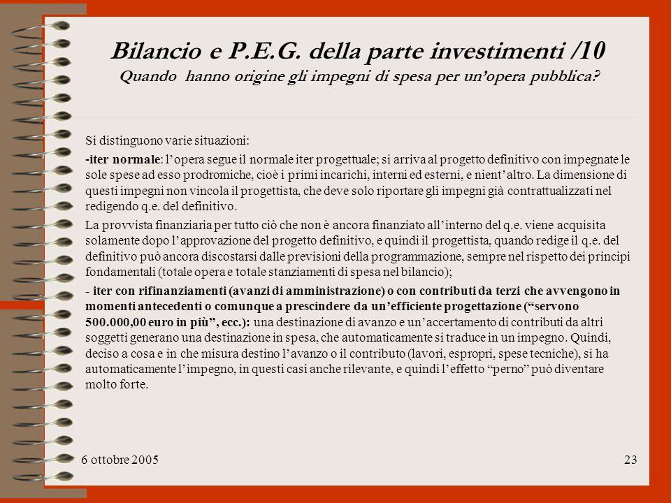 Bilancio e P.E.G. della parte investimenti /10 Quando hanno origine gli impegni di spesa per un'opera pubblica