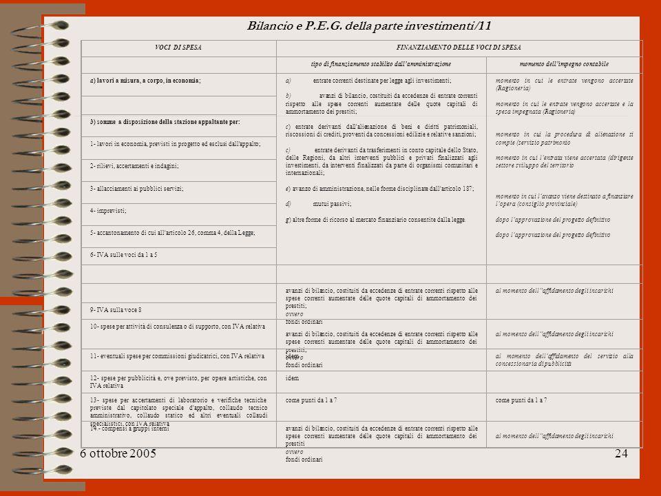 Bilancio e P.E.G. della parte investimenti /11