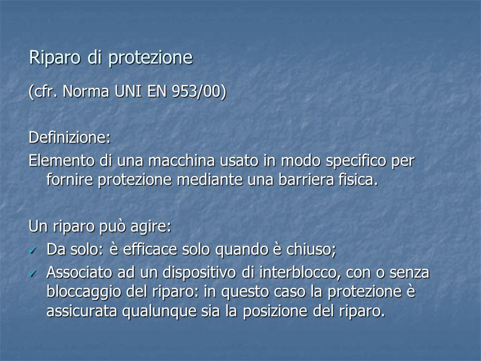 Riparo di protezione (cfr. Norma UNI EN 953/00) Definizione: