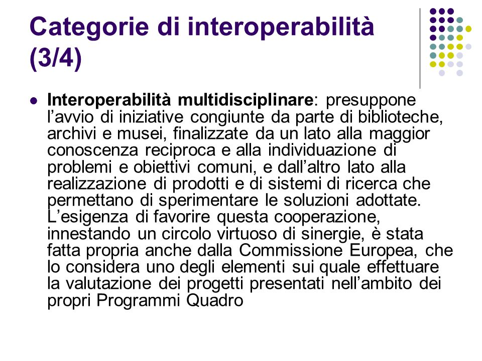 Categorie di interoperabilità (3/4)