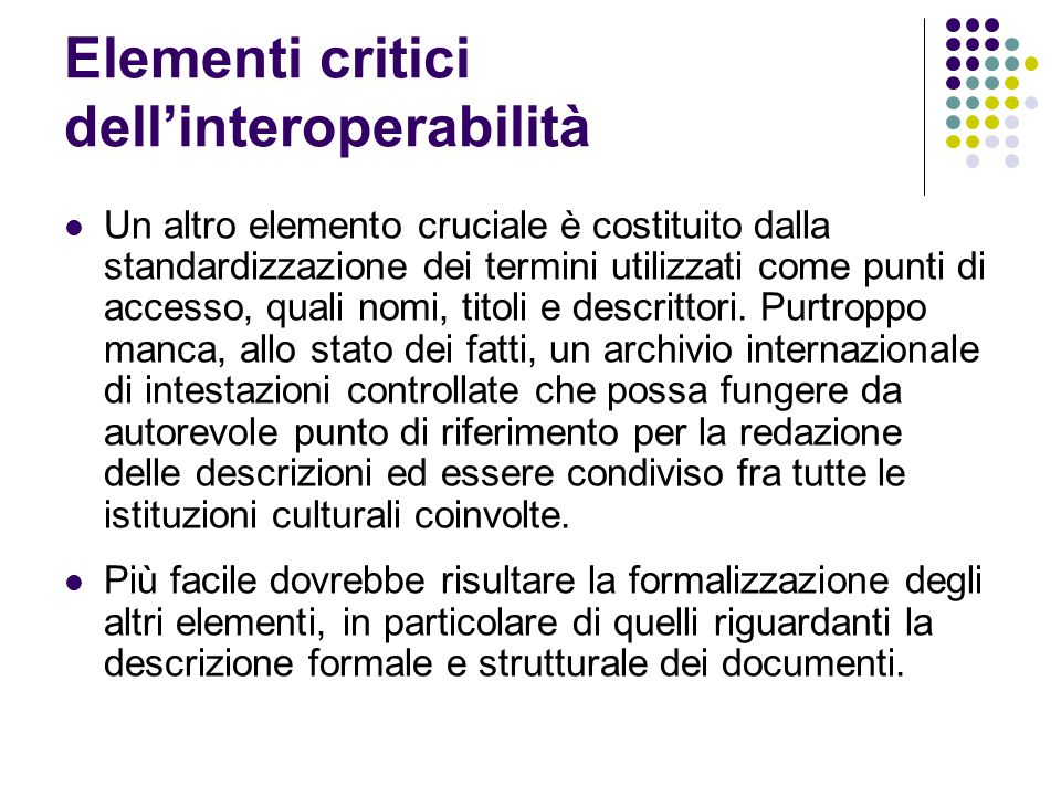 Elementi critici dell'interoperabilità