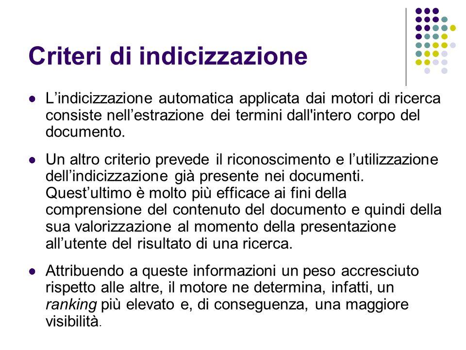 Criteri di indicizzazione