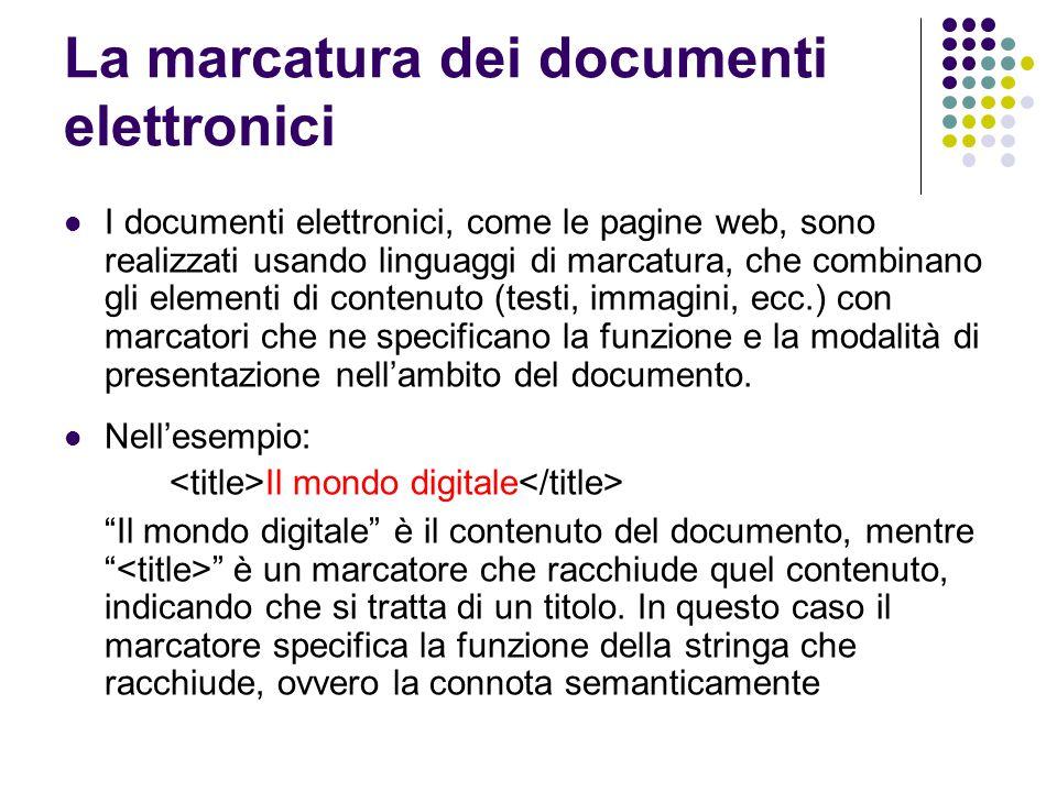 La marcatura dei documenti elettronici