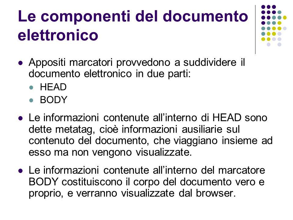 Le componenti del documento elettronico
