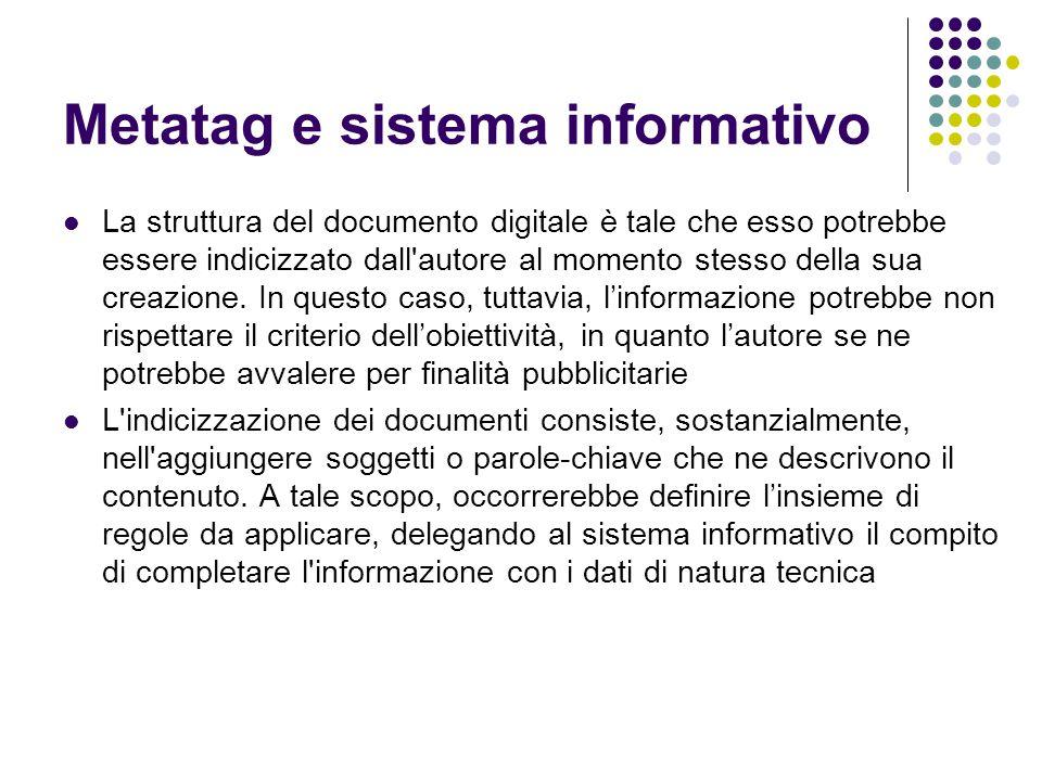 Metatag e sistema informativo