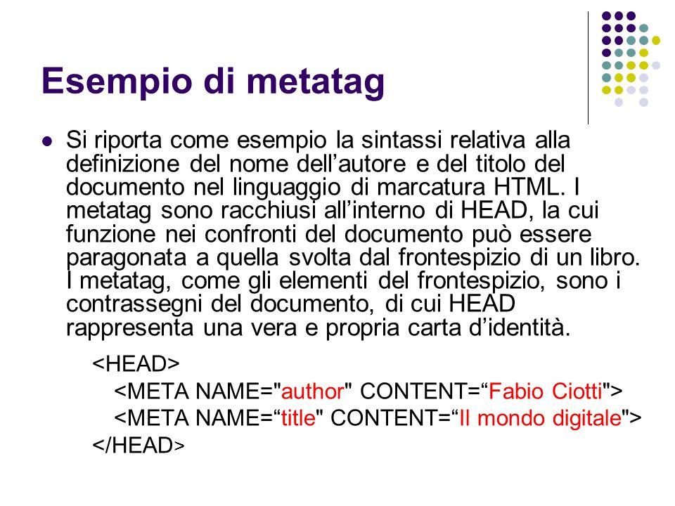 Esempio di metatag