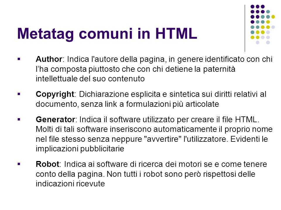 Metatag comuni in HTML