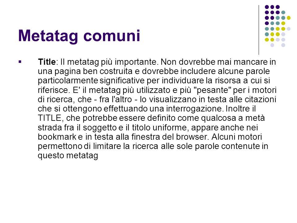 Metatag comuni