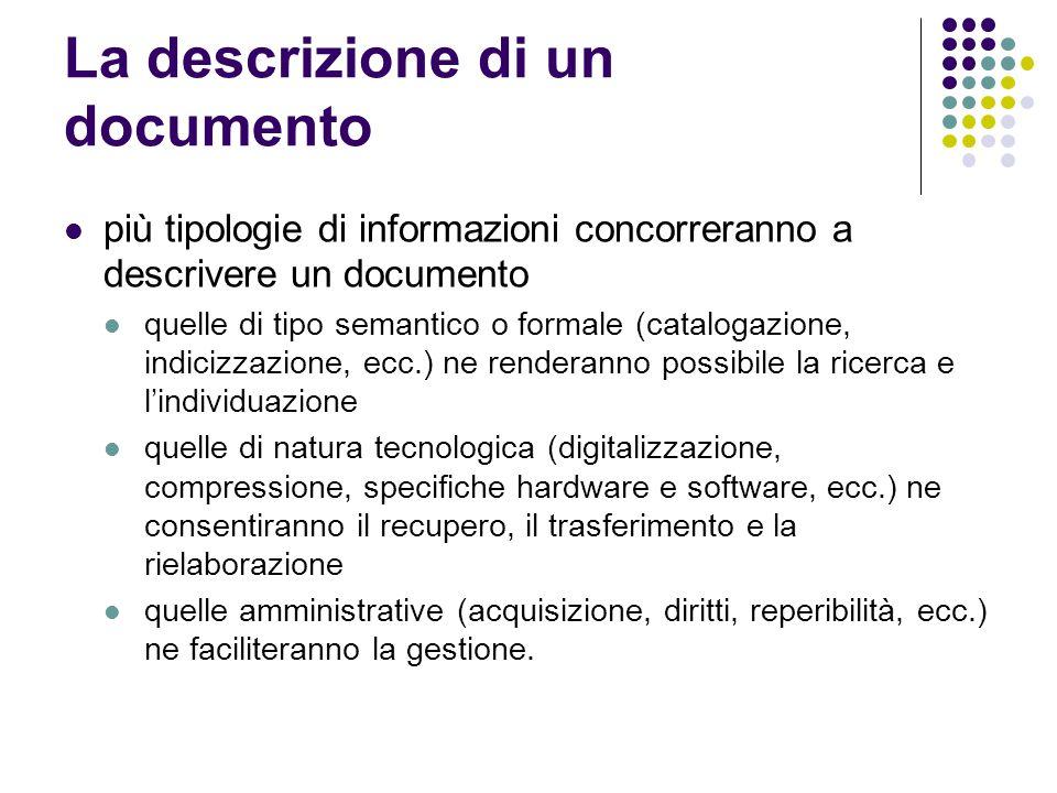 La descrizione di un documento