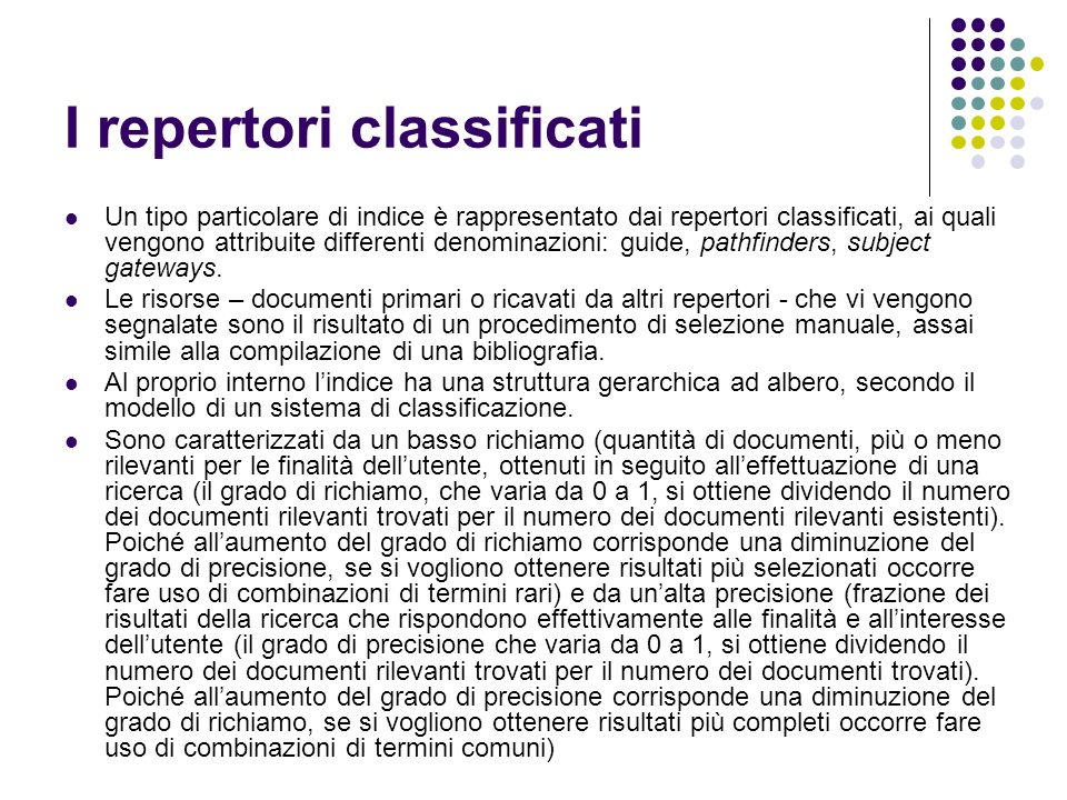 I repertori classificati