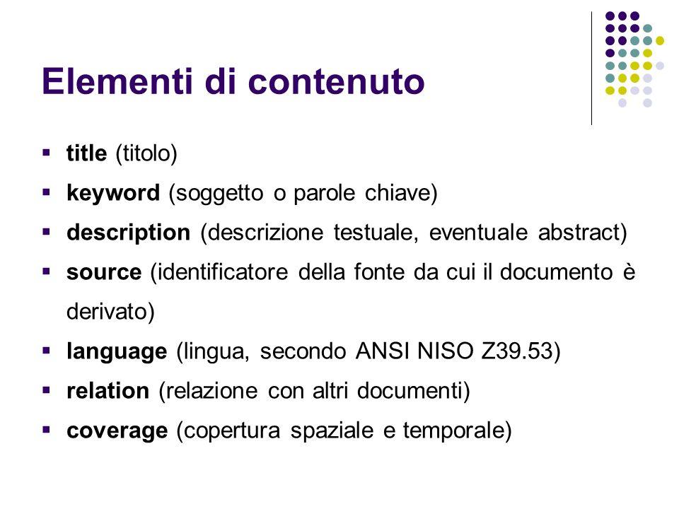 Elementi di contenuto title (titolo)