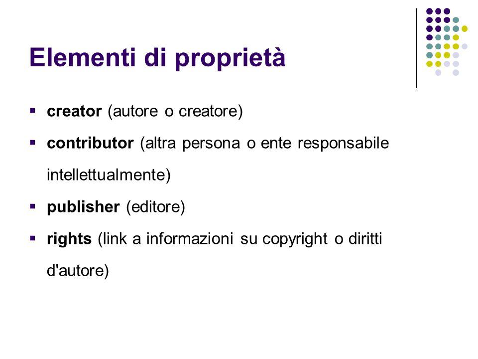 Elementi di proprietà creator (autore o creatore)