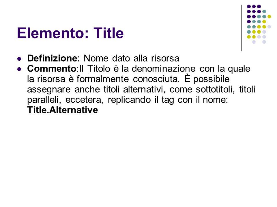 Elemento: Title Definizione: Nome dato alla risorsa