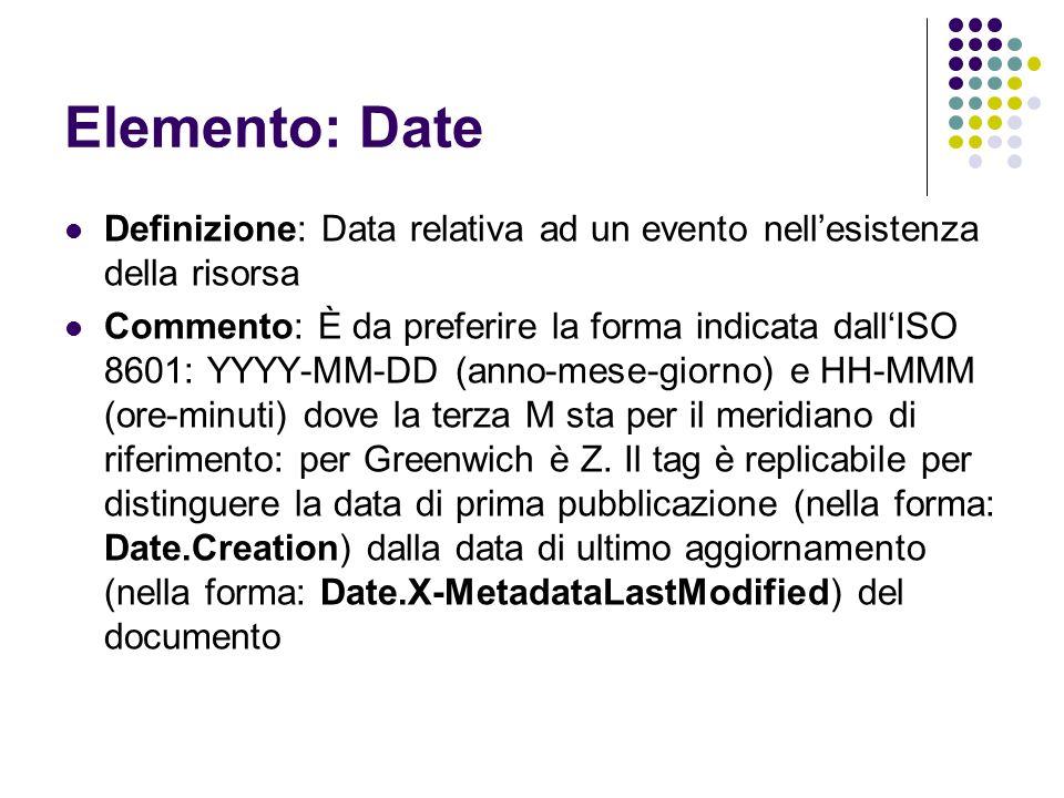 Elemento: Date Definizione: Data relativa ad un evento nell'esistenza della risorsa.