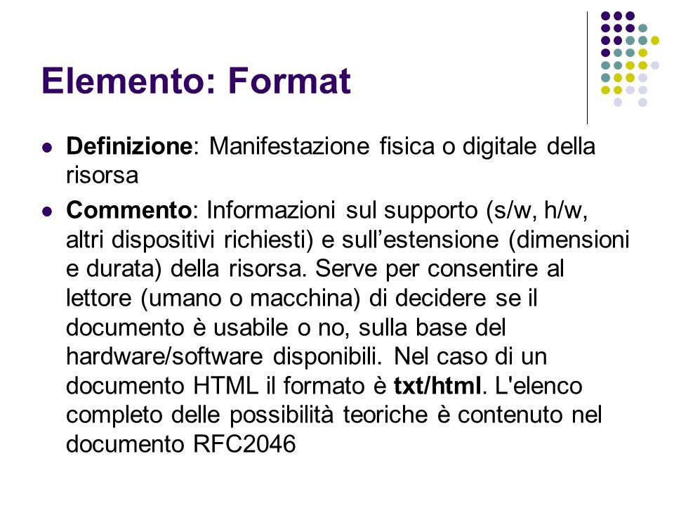 Elemento: Format Definizione: Manifestazione fisica o digitale della risorsa.