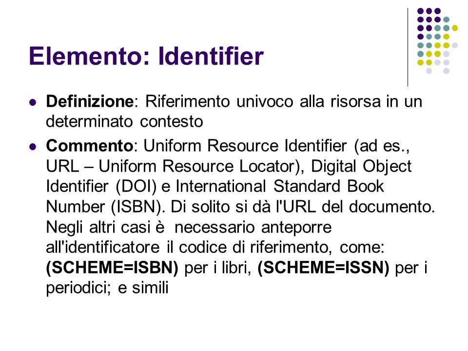 Elemento: Identifier Definizione: Riferimento univoco alla risorsa in un determinato contesto.