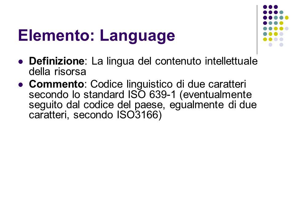 Elemento: Language Definizione: La lingua del contenuto intellettuale della risorsa.