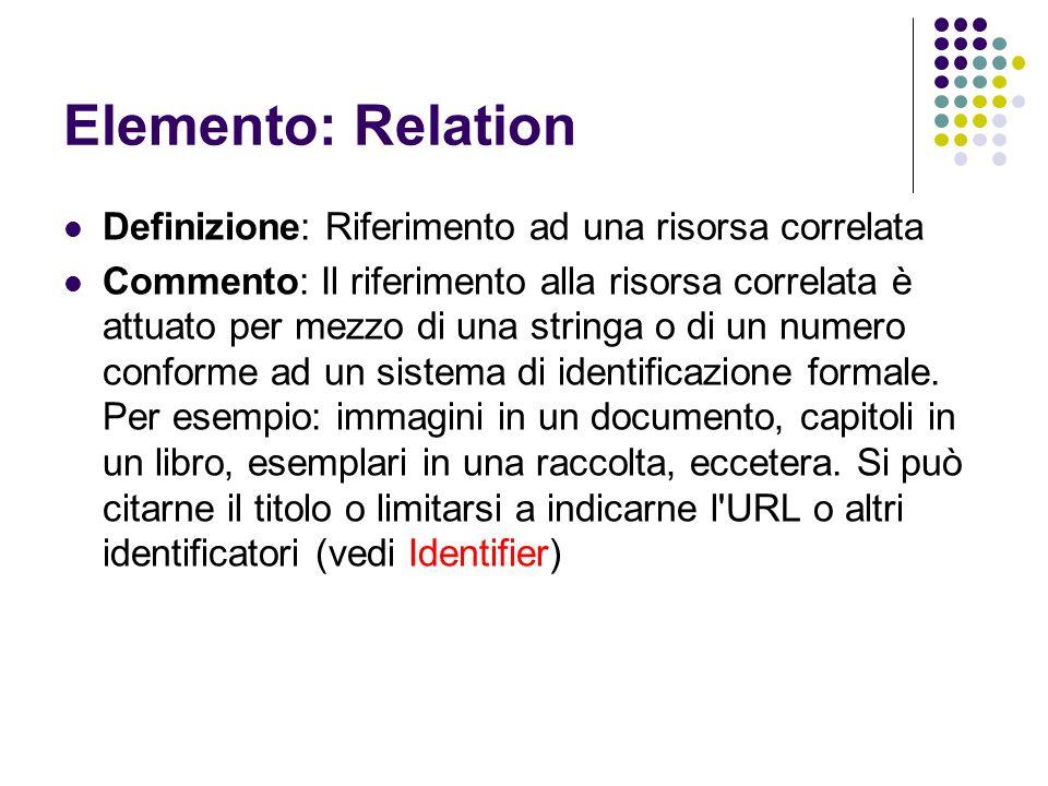 Elemento: Relation Definizione: Riferimento ad una risorsa correlata