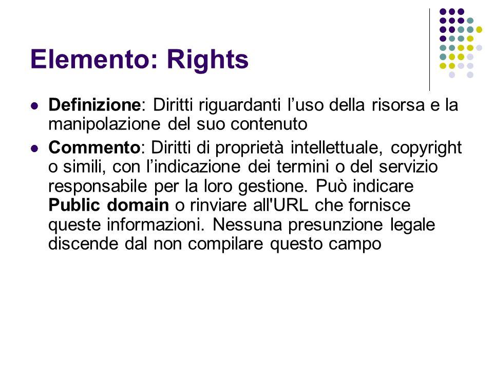 Elemento: Rights Definizione: Diritti riguardanti l'uso della risorsa e la manipolazione del suo contenuto.
