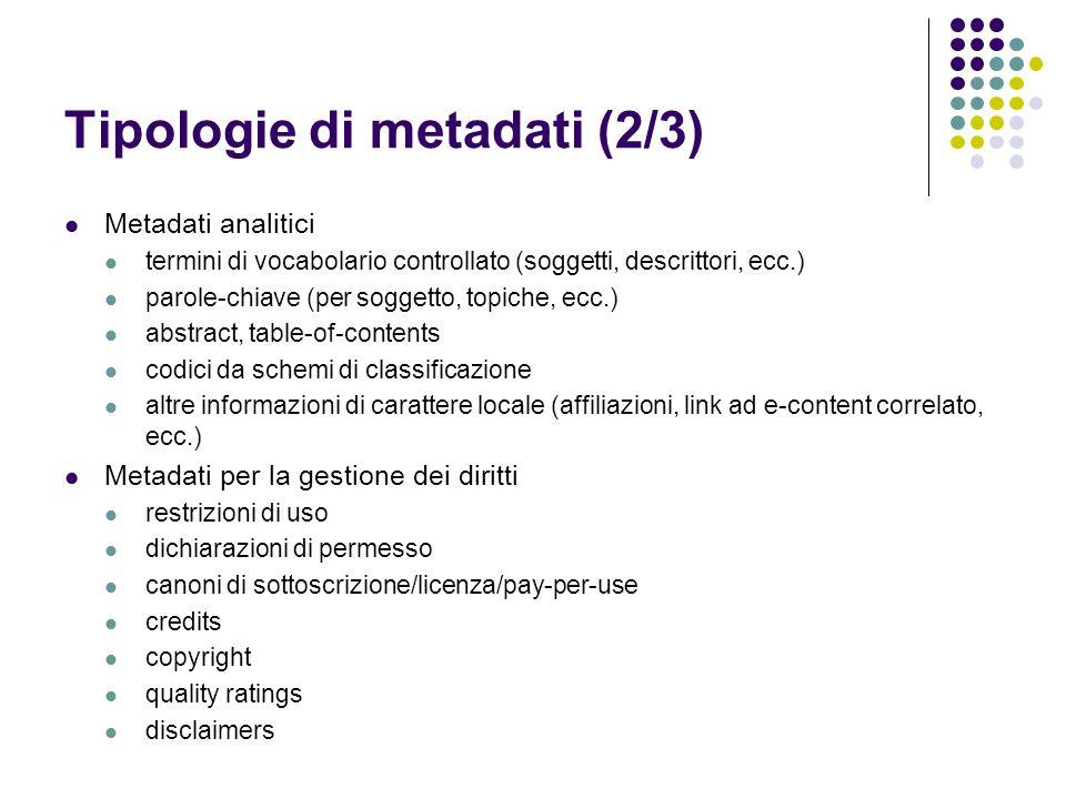 Tipologie di metadati (2/3)