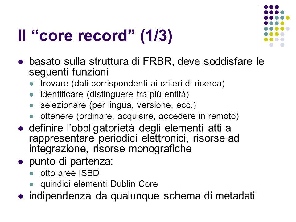 Il core record (1/3) basato sulla struttura di FRBR, deve soddisfare le seguenti funzioni. trovare (dati corrispondenti ai criteri di ricerca)