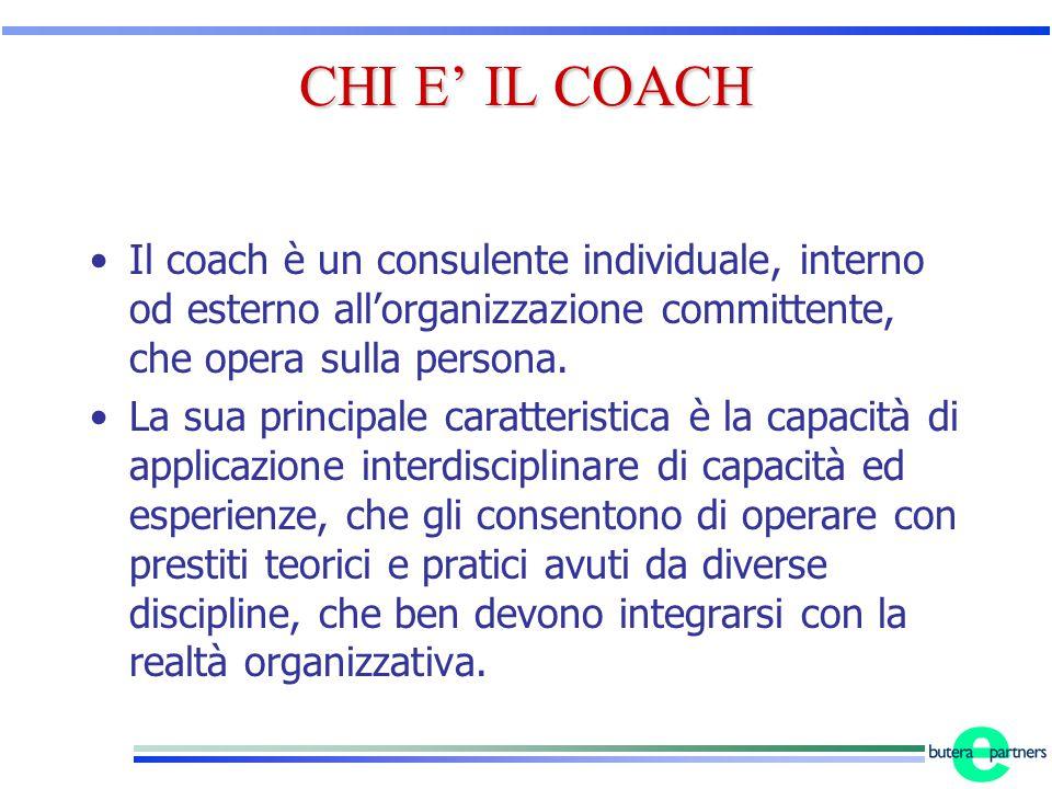 CHI E' IL COACH Il coach è un consulente individuale, interno od esterno all'organizzazione committente, che opera sulla persona.