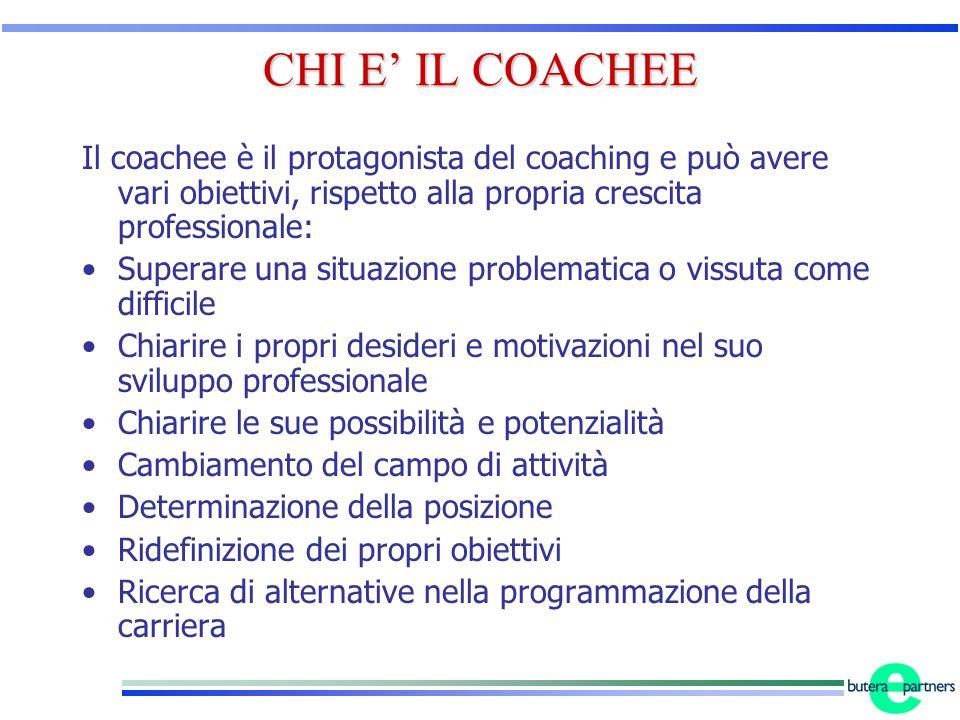 CHI E' IL COACHEE Il coachee è il protagonista del coaching e può avere vari obiettivi, rispetto alla propria crescita professionale: