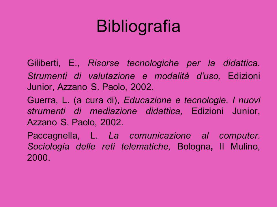 Bibliografia Giliberti, E., Risorse tecnologiche per la didattica. Strumenti di valutazione e modalità d'uso, Edizioni Junior, Azzano S. Paolo, 2002.