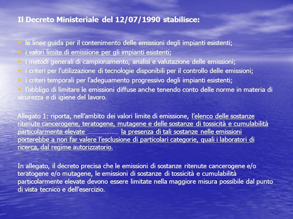 Il Decreto Ministeriale del 12/07/1990 stabilisce: