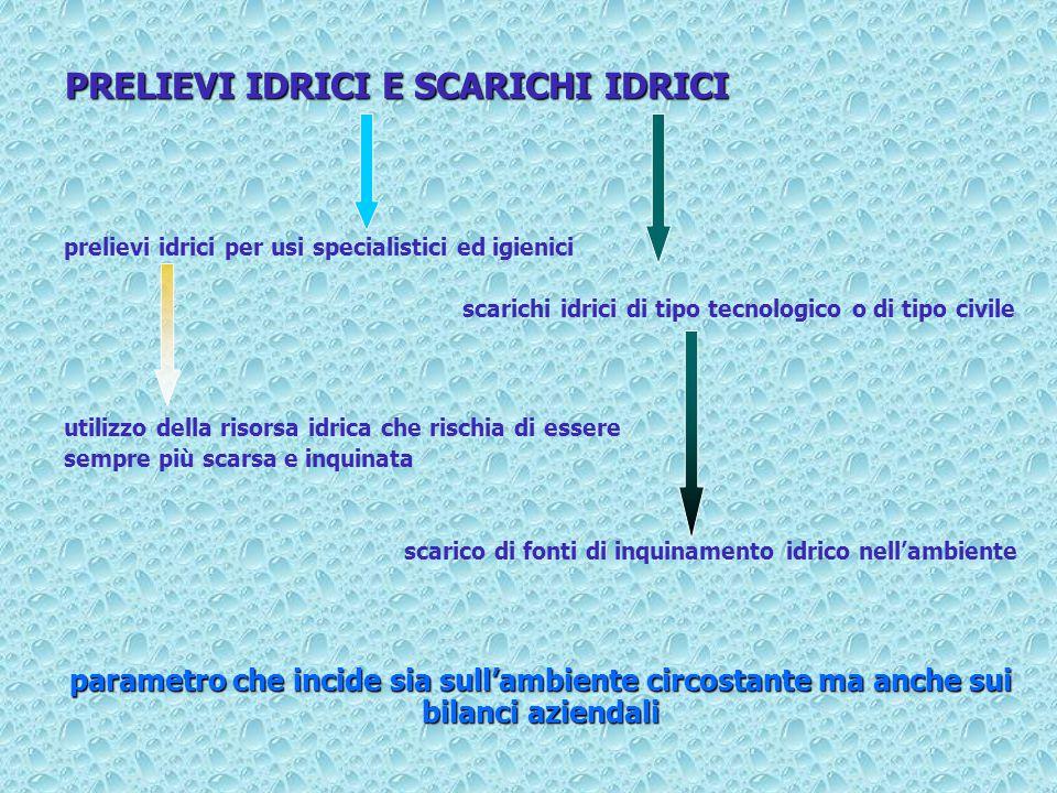 PRELIEVI IDRICI E SCARICHI IDRICI
