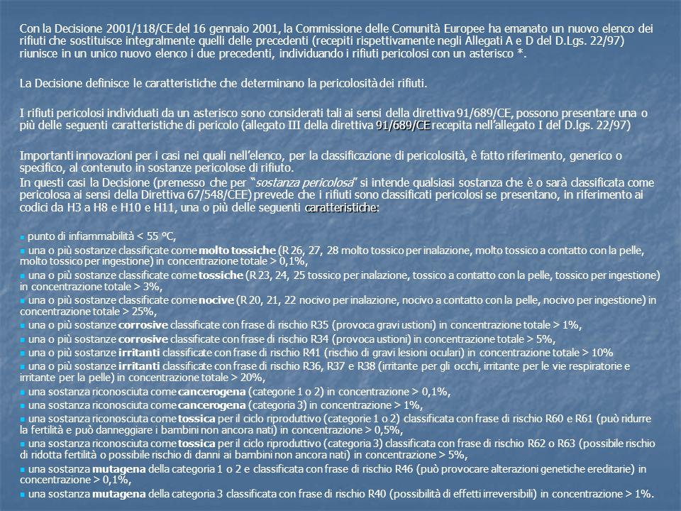 Con la Decisione 2001/118/CE del 16 gennaio 2001, la Commissione delle Comunità Europee ha emanato un nuovo elenco dei rifiuti che sostituisce integralmente quelli delle precedenti (recepiti rispettivamente negli Allegati A e D del D.Lgs. 22/97) riunisce in un unico nuovo elenco i due precedenti, individuando i rifiuti pericolosi con un asterisco *.