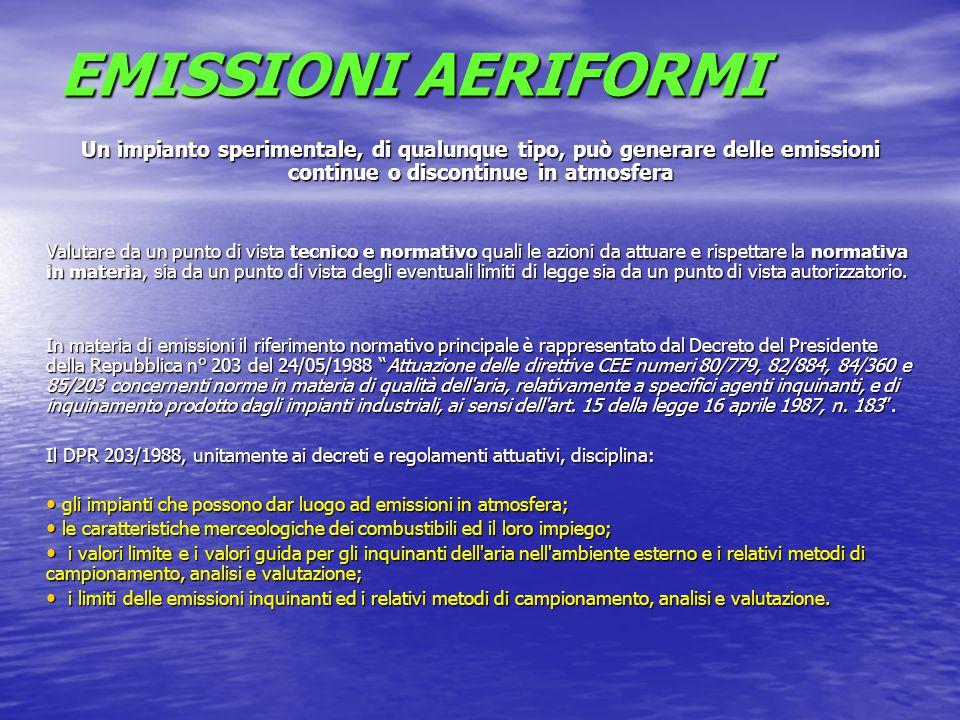 EMISSIONI AERIFORMI Un impianto sperimentale, di qualunque tipo, può generare delle emissioni continue o discontinue in atmosfera.