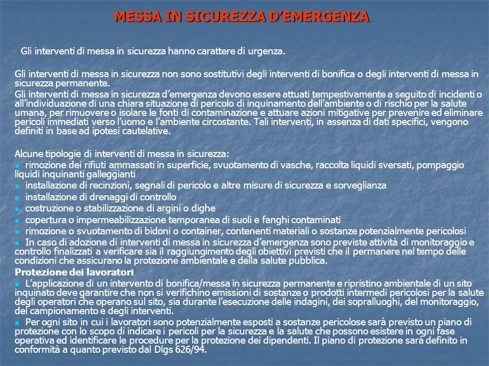 MESSA IN SICUREZZA D'EMERGENZA