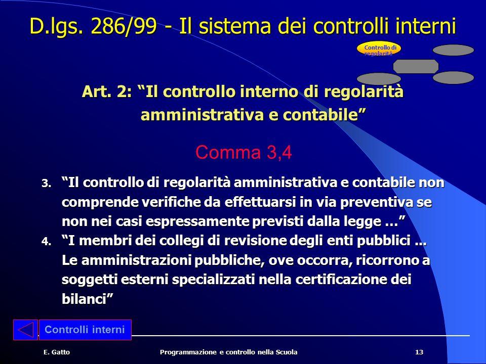 D.lgs. 286/99 - Il sistema dei controlli interni