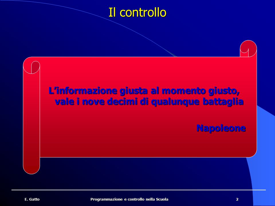Il controllo L'informazione giusta al momento giusto, vale i nove decimi di qualunque battaglia. Napoleone.