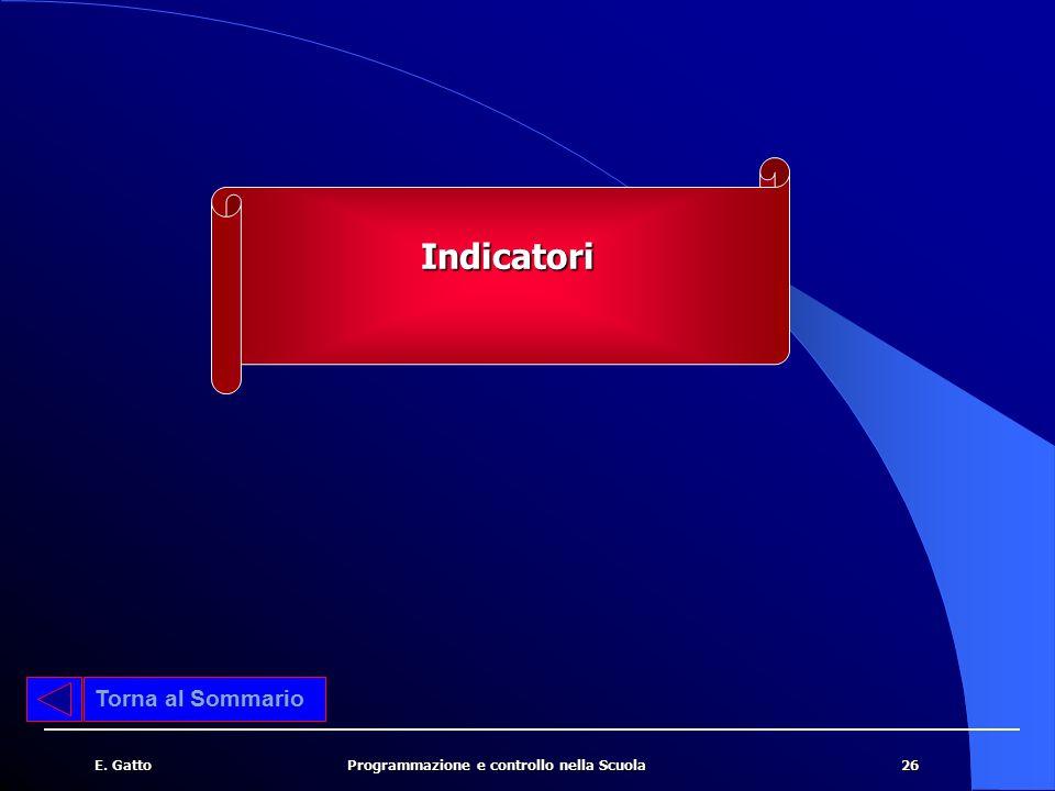 Indicatori Torna al Sommario E. Gatto