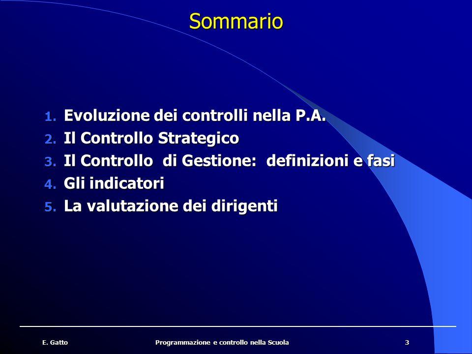 Sommario Evoluzione dei controlli nella P.A. Il Controllo Strategico