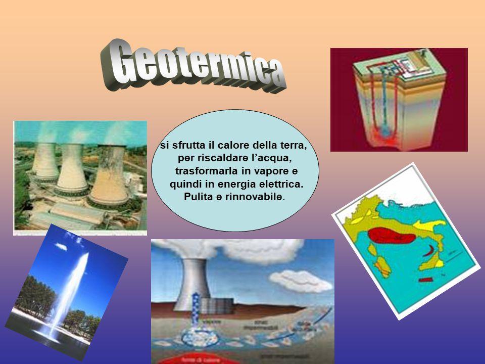 Geotermica si sfrutta il calore della terra, per riscaldare l'acqua,