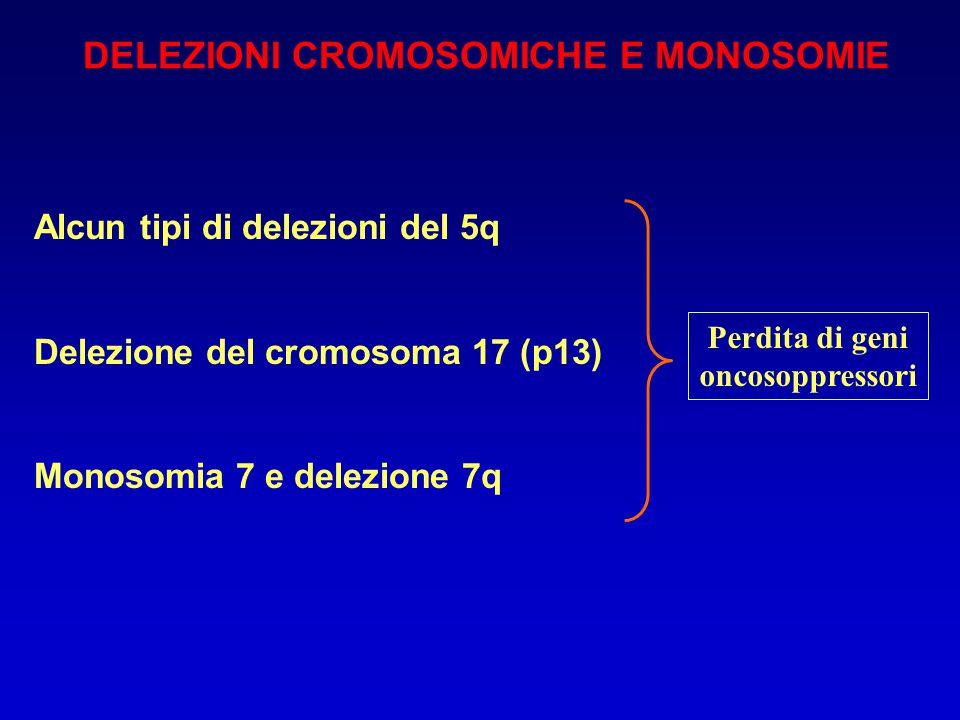 DELEZIONI CROMOSOMICHE E MONOSOMIE