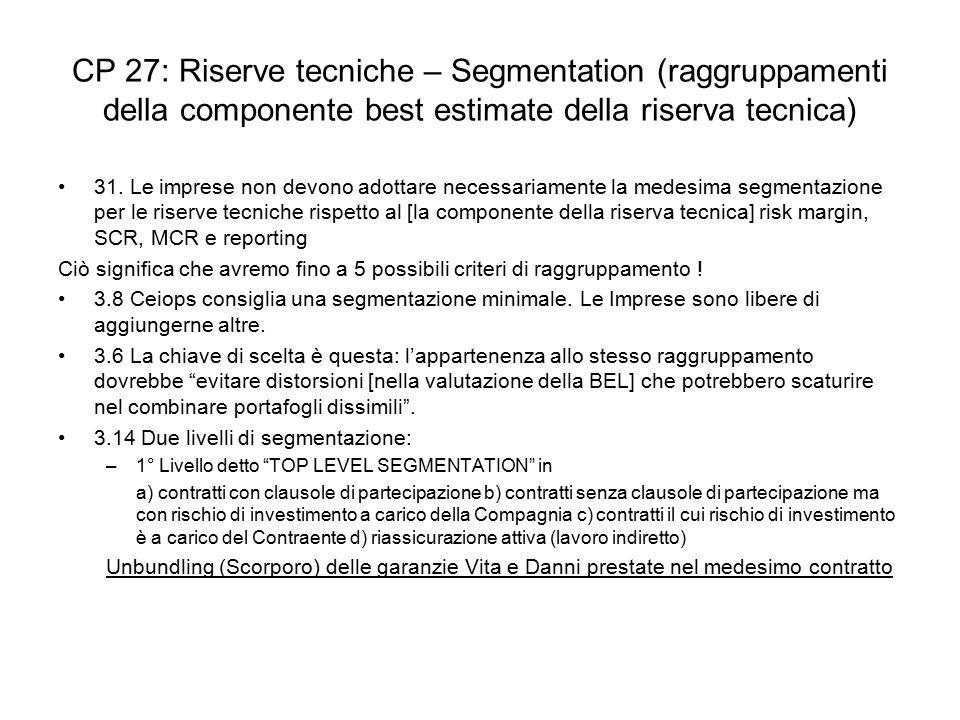 CP 27: Riserve tecniche – Segmentation (raggruppamenti della componente best estimate della riserva tecnica)
