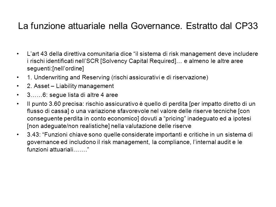 La funzione attuariale nella Governance. Estratto dal CP33