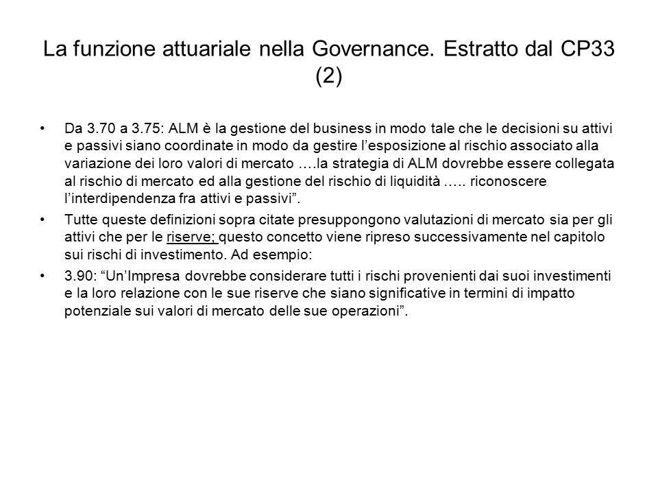 La funzione attuariale nella Governance. Estratto dal CP33 (2)