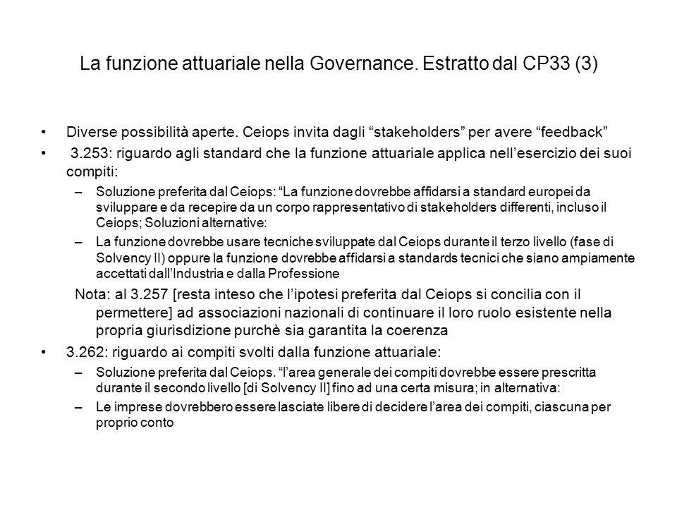 La funzione attuariale nella Governance. Estratto dal CP33 (3)