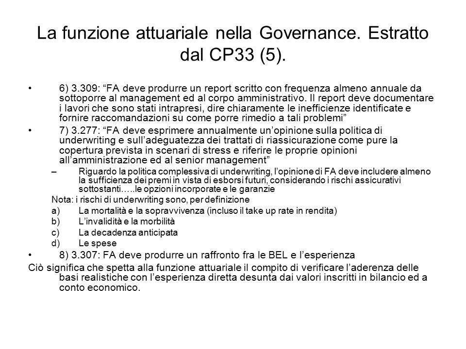 La funzione attuariale nella Governance. Estratto dal CP33 (5).