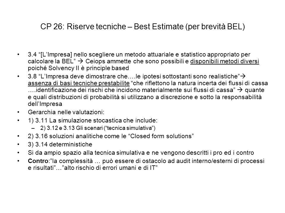 CP 26: Riserve tecniche – Best Estimate (per brevità BEL)